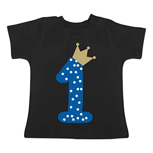 Geburtstag Baby - 1. Geburtstag Krone Junge Erster - 1-3 Monate - Schwarz - BZ02 - Baby T-Shirt Kurzarm
