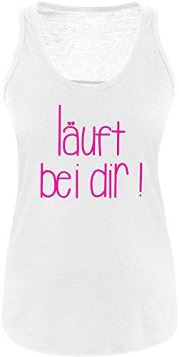 EZYshirt Läuft bei dir ! Damen Tanktop Weiss/Neonpink