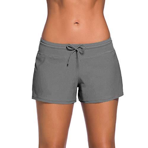 UPhitnis Damen Badeshorts UV Schutz Badehose Schnell Trocknendes Schwimmhose Wassersport Boardshorts Schwimmshorts