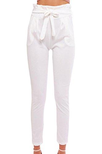 Damen Elegant High Waist Chiffon Stretch Pants Skinny Hosen Casual Streetwear einfarbig Lange Hose mit Tunnelzug, Weiß, Gr. 34