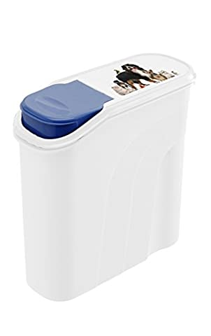 Rotho storage box for pet food, made from plastics (PP) - container for dry fodder - capacity 6 l / 2.6 kg - for dogs, cats, birds, etc - white / blue