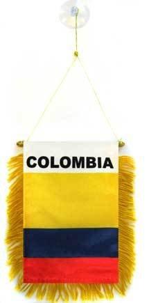 AZ FLAG Fanion Colombie 15x10cm - Mini Drapeau colombien 10 x 15 cm spécial Voiture - Bannière