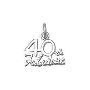 Poliert Sterling Silber 40und amp; Fabulous Charme Maßnahmen 13,5mm x 15mm