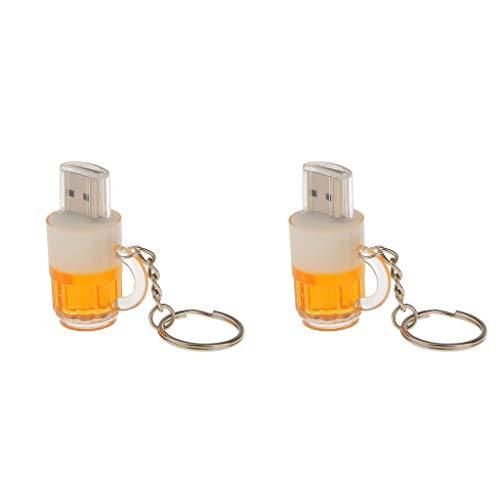 Sharplace 2 pezzi chiavette pendrive a forma di tazza birra usb2.0 16gb + 8 gb memory disk con portachiavi