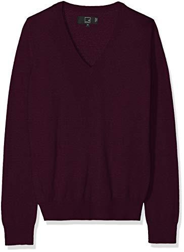 MERAKI Merino Pullover Damen mit V-Ausschnitt, Rot (Berry Marl), 40 (Herstellergröße: Large) -