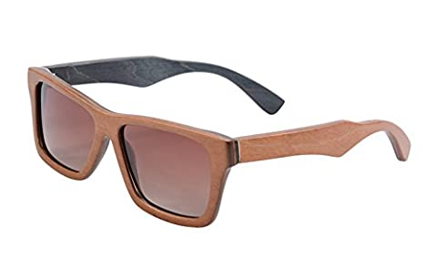 Wood Wayfarers Sunglasses Skate Wooden Frame Polarized Retro Eyeglasses- Z68020(brown-black,