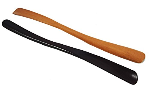 Set Schuhanzieher 50cm Lang Holz Buche – 2 Holz Schuhlöffel im Set (1x buche + 1x weinrot) (Lange Liege)