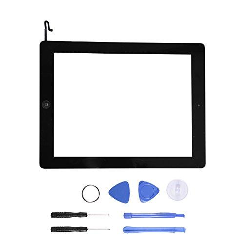 ASHATA Komplett Touch Screen Digitizer für iPad 4, Digitizer Display GlasTouchscreen Ersatzteil Home Button + Kamera Halterung + Werkzeugset Kit für ipad 4 A1458 A1459 A1460(Schwarz) Button-kamera-kit