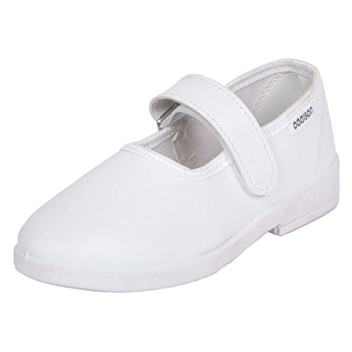 Addison Girls Synthetic School Belly Velcro White 6 to 9 yrs
