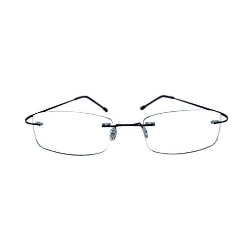 Meijunter Brillen Frameless Rimless Lesebrille Rechteck Metalllegierung Leichte Presbyopische Gläser für Männer Frauen 006(schwarz/+1.5)