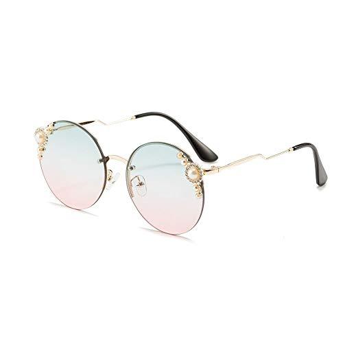 Herren Sonnenbrillen Damenmode Round Frame Pearl Sonnenbrille Ocean Sonnenbrille für Outdoor-Urlaub Frauen DIY (Farbe : Green/pink)