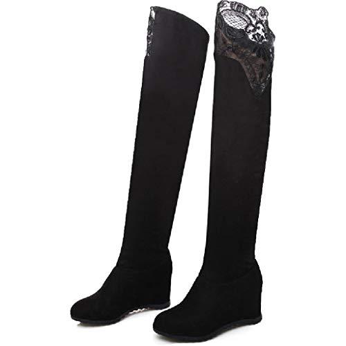 SDSDCC boots Damen Overknee Stiefel Beiläufige schwarze warme Faux-Veloursleder-Keilabsatz-Herbst-Winter-erhöhte Schenkel-hohe Aufladungen Ineinander greifen-Schuhe Schwarzes Rot,Black-5UK/37EU -