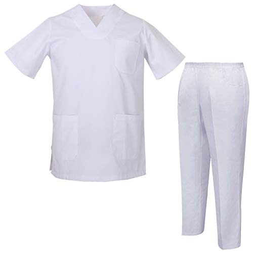 MISEMIYA - Medical Scrubs Set Unisex - Medizinische Uniform mit Oberteil und Hose ref.8178 - Large, Weiß