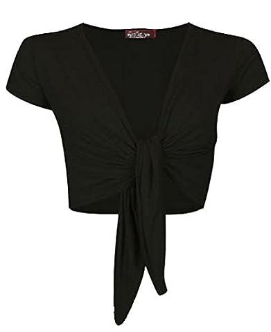 DAMES TRENDY TIE UP CAP MANCHES FEMME SHRUG BOLERO TOP GIRLS WRAP GILET TAILLE 36-42 (S/M 36-38, noir)