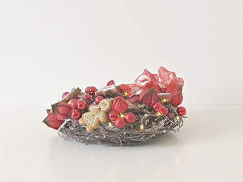 Adventskranz Lebkuchen Weihnachten Kranz Gold Advent Kranz Gesteck Dekoration dekoration Lebkuchen Lichterkette Schleifen (Weihnachten Lebkuchen Dekoration)