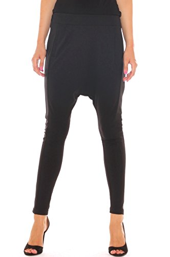 Pantalone baggy donna in jersey stretch cavallo basso Nero