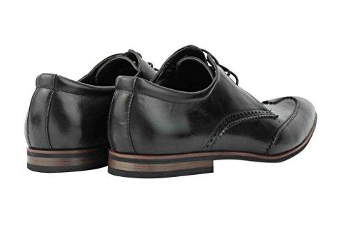 Nuovo da uomo in pelle sintetica marrone chiaro nero marrone con Smart Vintage Brogue Derby formale Scarpe Black
