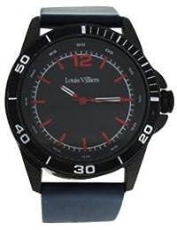 Reloj hombre Louis Villiers reloj 45 mm de acero negro y brazalete azul piel lv1003