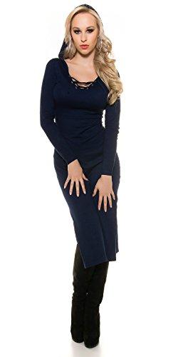 Feinstrick-kleid mit Schnürrung Dunkelblau