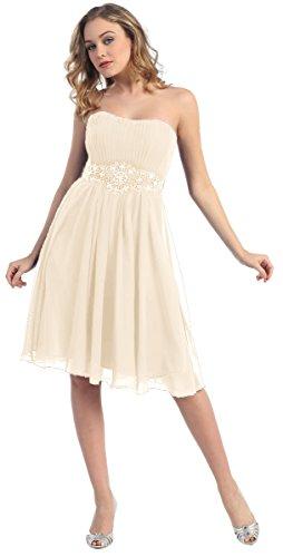 Brautkleid Standesamt kurz Brautkleider Strand Hochzeitskleider A-Linie schlicht Knielang Creme...