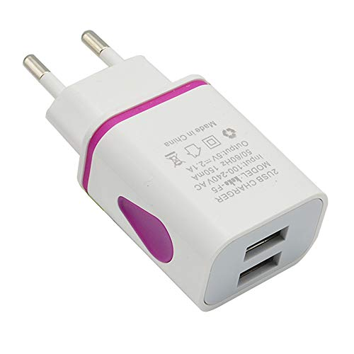 bescita 5.1A 2-Port USB Charger with PowerIQ Technology for iPhone, iPad, iPod, Samsung Galaxy, Nexus, HTC, Motorola, LG and More (Pink) - Dual-usb-wand-adapter