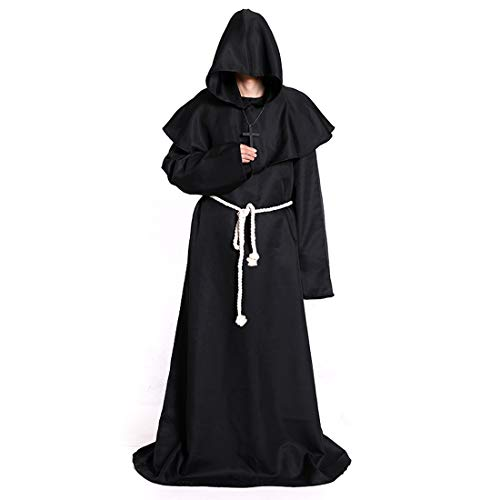 Mitef Medieval Monk Hooded Robe Renaissance Priest Friar Halloween Costume Black Small