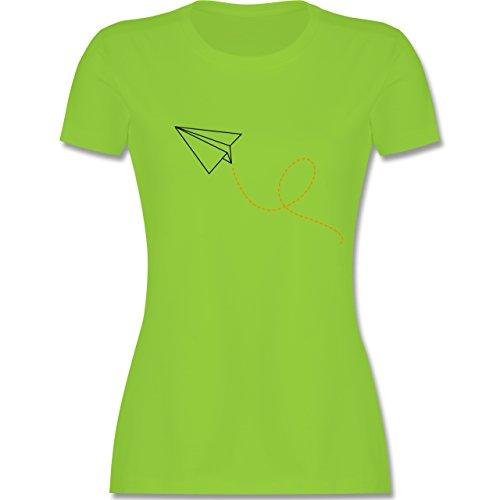 Shirtracer Symbole - Papierflieger - Damen T-Shirt Rundhals Hellgrün