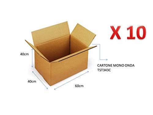 10 scatole di cartone 60x40x40 cm imballaggio cartone mono onda per spedizioni/magazzino / traslochi