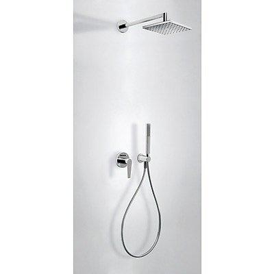 Kit de ducha monomando empotrado CLASS con cierre y regulación de caudal. · Cuerpo empotrado incluido · Ducha fija 250x250mm. (1.34.138.26). · Soporte con toma pared. (91.34.182). · Ducha móvil anticalcárea. (299.631.08). · Flexo SATIN (91.34.609.15).