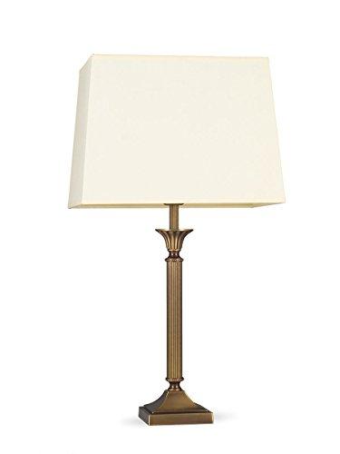 Helios Leuchten 403776/6 klassische Tischleuchte Tischlampe Kandelaber | Messing antik | Altmessing, Lampenschirm Stoff rechteckig pastell-gelb, für LED Lampen geeignet