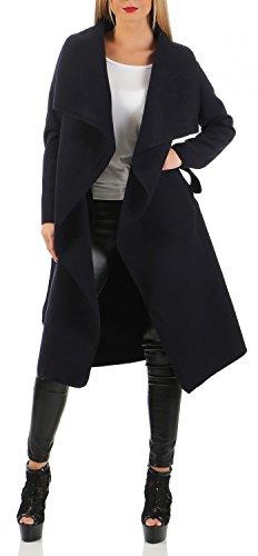 Damen Langer Mantel, Trenchcoat mit Taschen und Taillengürtel ( 543 ), Farbe:Dunkelblau, Mäntel:L / 40