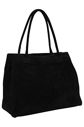 AMBRA Moda Damen Wildleder Handtasche Schultertasche Shopper WL810 (Schwarz)