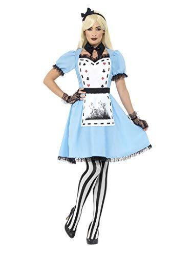 Smiffys Damen Deluxe Dunkle Teeparty Kostüm, Kleid mit Schürze, Kragen, Strumpfhose und Haarband, Größe: 32-34, 44712