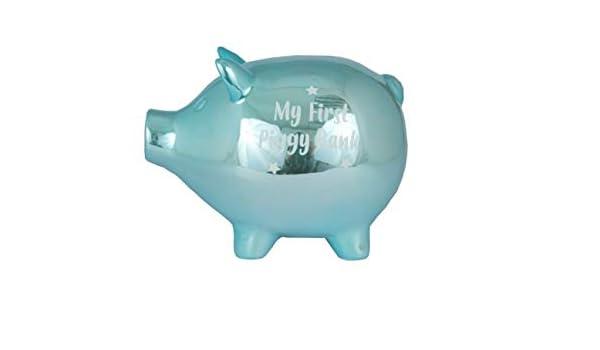 Baby Piggy Bank Tirelire en c/éramique pour b/éb/é Motif Cochon Bleu