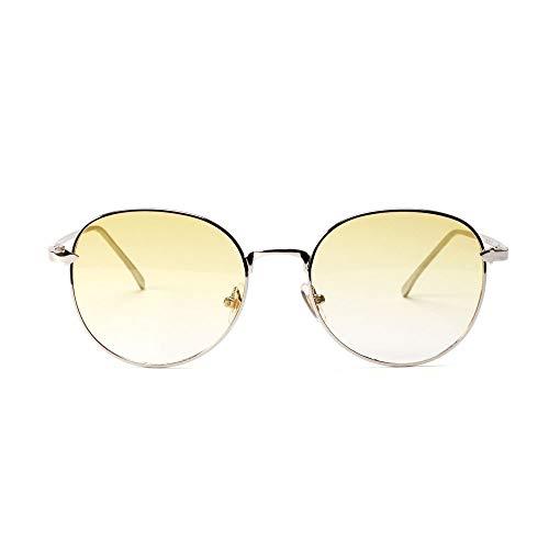 Arrow Small Box Round Glasses Flacher Spiegel für Damen/Herren. Brille (Farbe : Transparent Yellow)