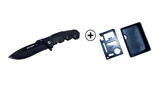 3 Berge Profi BERGAOER Taschenmesser - Inklusive Multitool 11in1| Hochwertiges Outdoor Messer mit Edelstahlklinge & Aluminiumgriff - für Camping, Wandern, Klettern usw.