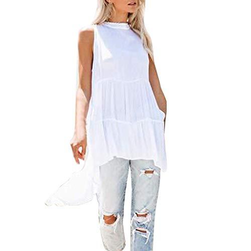 Vimoli Hemden Damen Camisole Tanktop Sommer ärmellose unregelmäßige Hohle Reine Farbe Bluse T-Shirt Tops(Weiß,M)