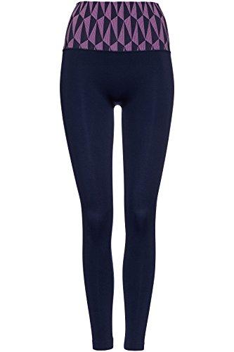 FIND Damen Sport Leggings Seamfree Geo Patterned Waistband Blau (Navy/Lilac), 38 (Herstellergröße: S)