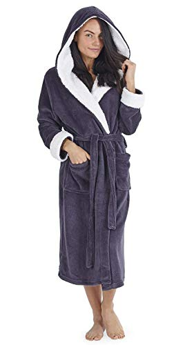 7c05c0a067 Ladies Luxury Hooded Dressing Gown with Sherpa Hood and Cuffs Super Soft  Robe with Fur Lined