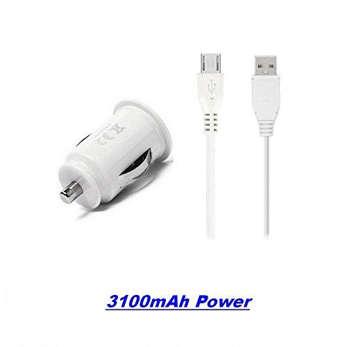 GiXa Technology 3100mAh / 3.1A Weiß + V8 USB Micro Ladekabel, Universal...