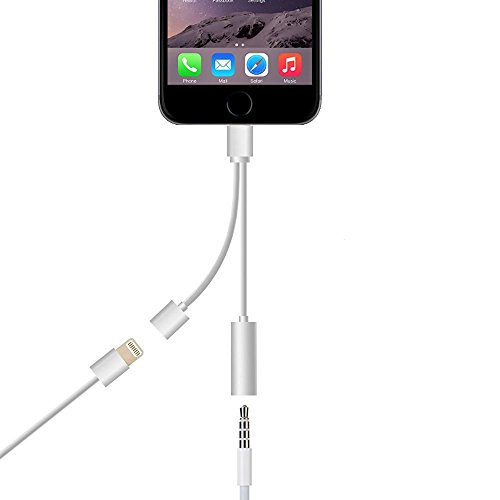 2 in 1 Lightning Adapter for iPhone 7, TUOYA Dual Function 8 Pin Charger and 3.5mm Earphone Jack Cable Adapter (No Music Control) for the iPhone 7 7 Plus