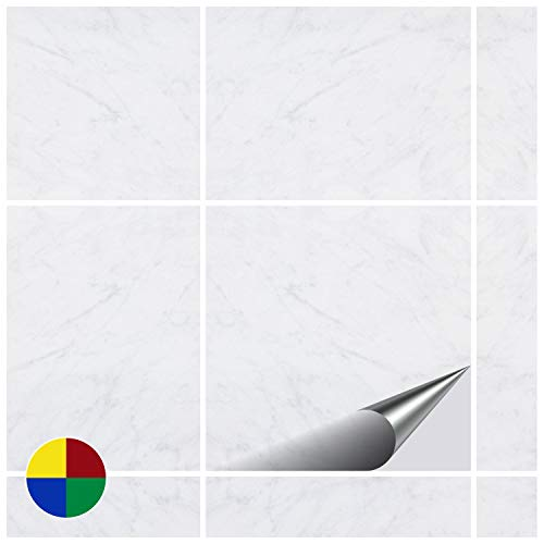 FoLIESEN Fliesenaufkleber 20x20 cm - Fliesen-Folie Bad - Klebefolie Küche - Dekor White Marble - 10 Klebefliesen - White Vinyl Top Küche