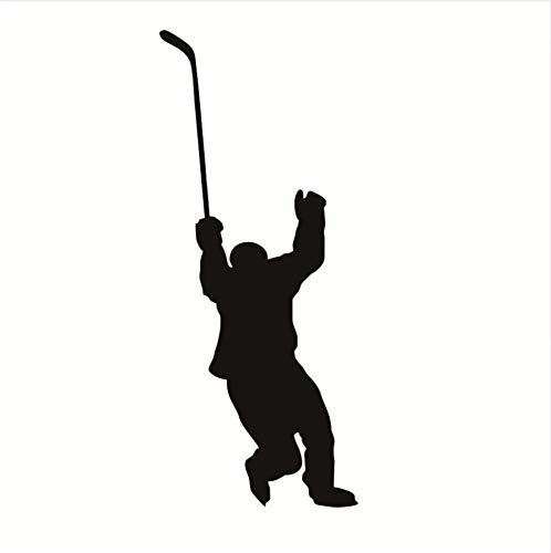 Zxfcczxf Hockey Player Wandtattoo Hockey Sport Wandaufkleber Für Jugendliche Jungen Zimmer Schlafzimmer Wohnheim College Vinyl Wandkunst Dekor Abnehmbare43 * 78 Cm