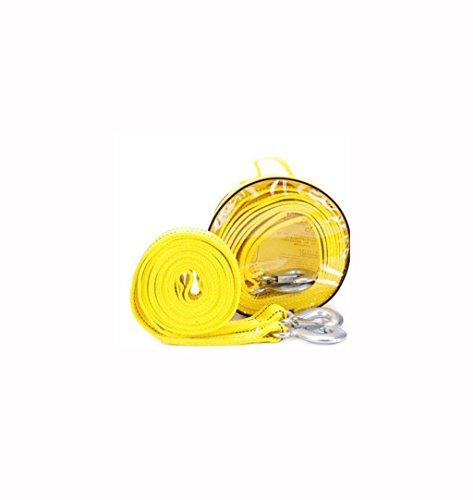 QJONKE -Schleppseil Schleppen Schleifen Nylon Stahlhaken, Gelb, 5M 5T