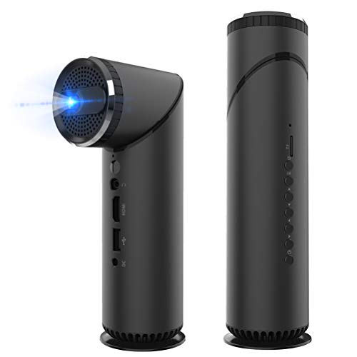 YYBF Beamer Mini, Tragbarer Videoprojektor Full HD 1080P LED, 200'' Heimkino, Unterstützt WiFi HDMI VGA AV USB PC Bluetooth Android 6.0, Für Heimkino Büro Reisen Unterhaltung Video Spiel Musik,Black (Android Hdmi Mini Pc)