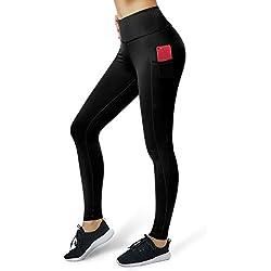 ALONG FIT Mallas Fitness de Mujer, Pantalón de Mujer Leggings Opaca Deportivo con Bolsillos para Yoga Correr Gimnasio