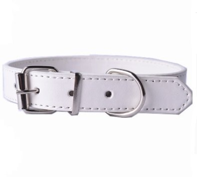 Doggie Style Store White PU Faux Leather Effect Dog Puppy Pet Plain PVC Buckle Collar Size S