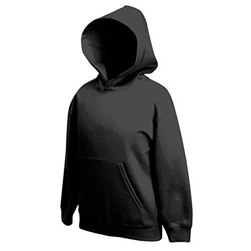 Fruit of the Loom - Classic Kinder Kapuzen-Sweatshirt 'Kids Hooded Sweat' 140,Black