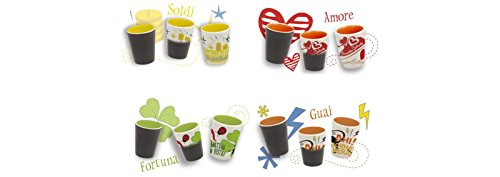 Brandani set di 4bicchieri in ceramica, con profezia Decorativi e colorati, taglia unica