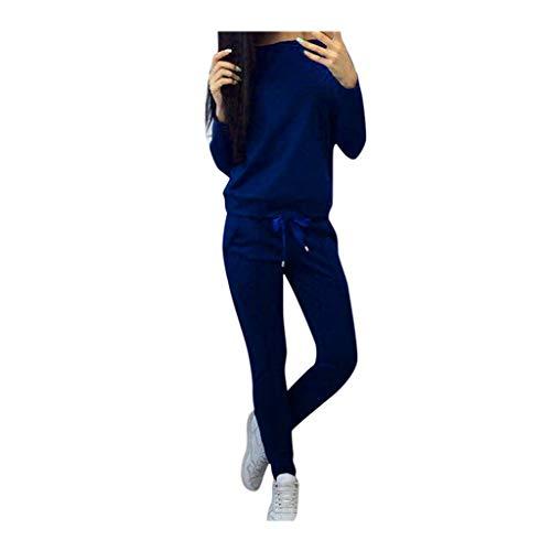 SHINEHUA Frauen Trainingsanzug Damen 2 Stück Outfit Einfarbig Jogginganzug Tracksuit Top T-Shirt Pullover Lange Hose Sportanzug Langarm Anzug Sport Wear Casual Streetwear Sweat Suit -